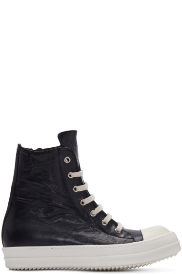 Rick Owens - Black Distressed High-Top Sneakers