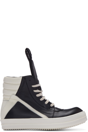 Rick Owens - Black & Ivory Geobasket High-Top Sneakers