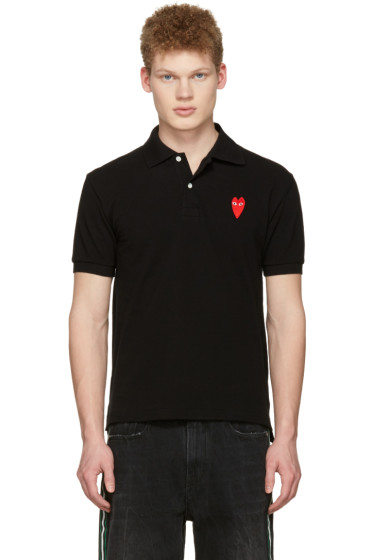 Comme des Garçons Play - Black Long Heart Patch Polo