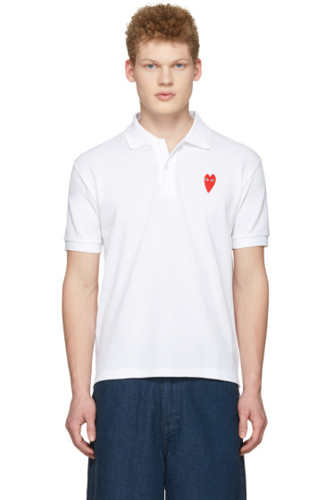 Comme des Garçons Play - White Long Heart Patch Polo