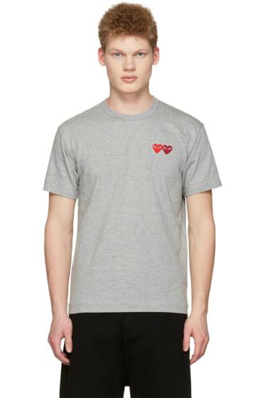 Comme des Garçons Play - Grey Double Hearts T-Shirt