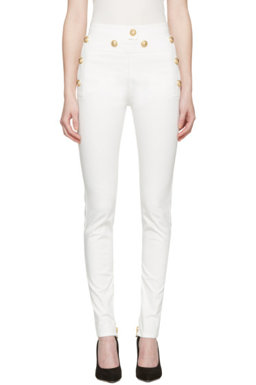 Balmain - White Gold Buttons Jeans