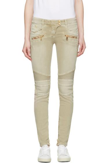 Balmain - Beige Distressed Biker Jeans