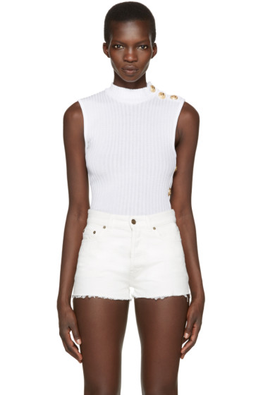 Balmain - White Sleeveless Turtleneck
