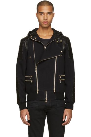 Balmain - Black French Terry & Leather Jacket