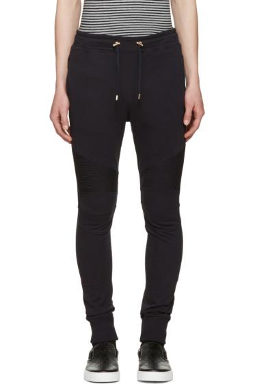 Balmain - Navy Ribbed Knee Lounge Pants