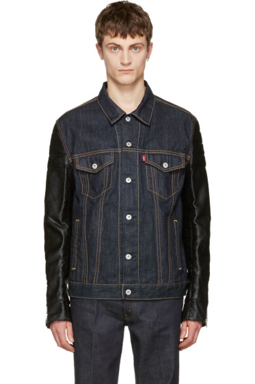 Junya Watanabe - Indigo Faux-Leather Sleeves Denim Jacket