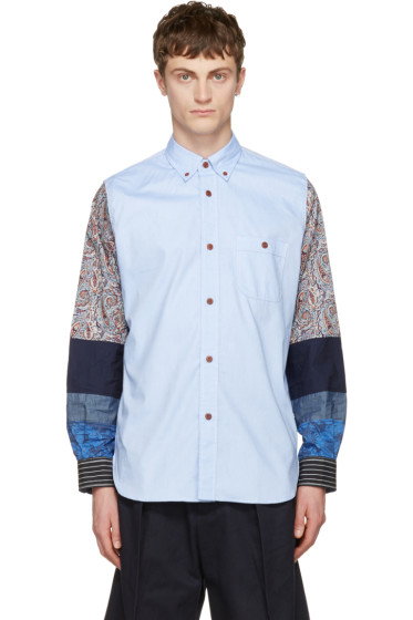Junya Watanabe - Blue Jacquard Multi Fabric Shirt