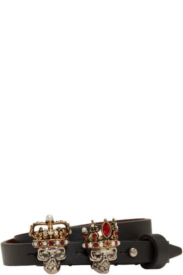 Alexander McQueen - Black King & Queen Double-Wrap Bracelet