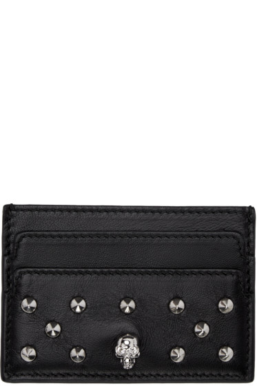 Alexander McQueen - Black Skull Studded Card Holder