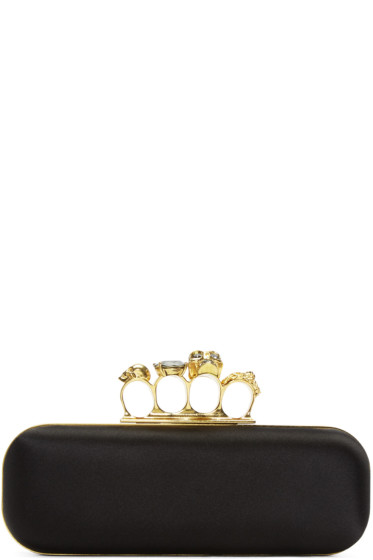 Alexander McQueen - Black Satin Knuckle Box Clutch