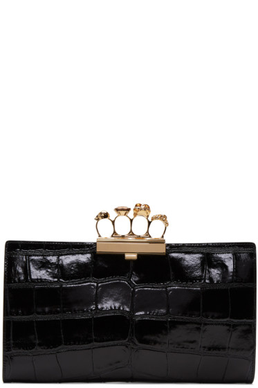 Alexander McQueen - Black Croc-Embossed Knuckle Clutch