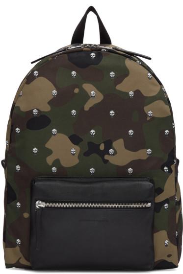 Alexander McQueen - Green Nylon Camouflage & Skulls Backpack