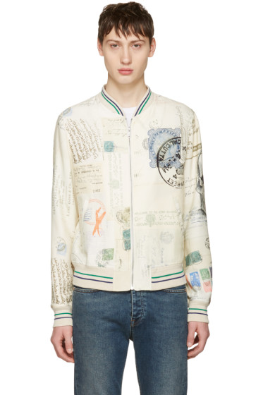 Alexander McQueen - Ivory 'Letters From India' Bomber Jacket