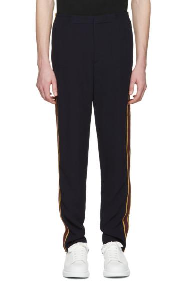 Alexander McQueen - Navy Racer Stripes Trousers
