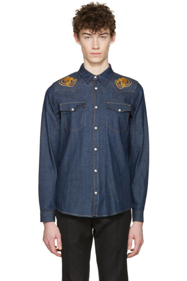 Alexander McQueen - Indigo Embroidered Skulls Denim Shirt