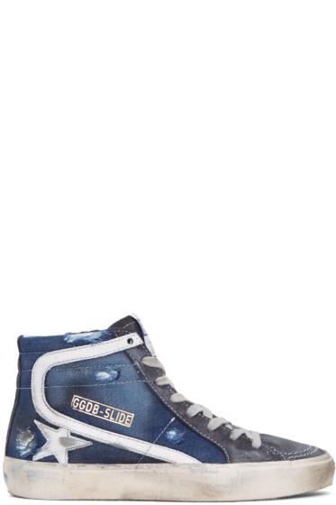 Golden Goose - Navy Slide High-Top Sneakers