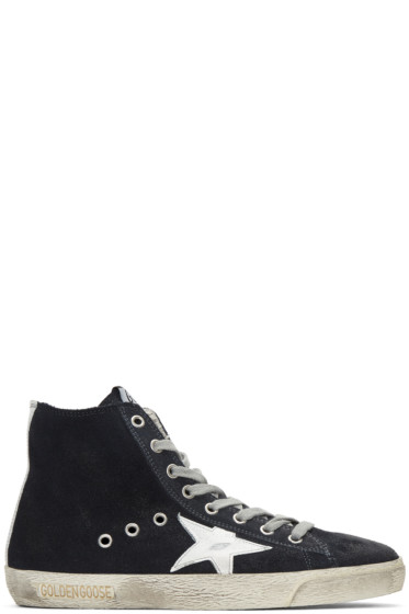 Golden Goose - Navy Suede Superstar High-Top Sneakers