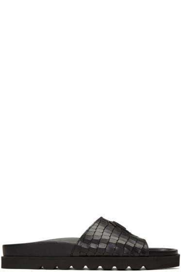 Giuseppe Zanotti - Black Python-Embossed Slide Sandals