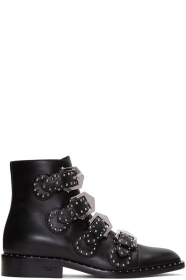 Givenchy - Black Studded Buckle Boots