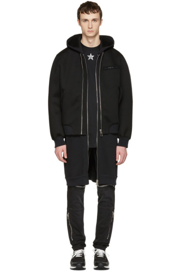 Givenchy - Black Neoprene Layered Coat