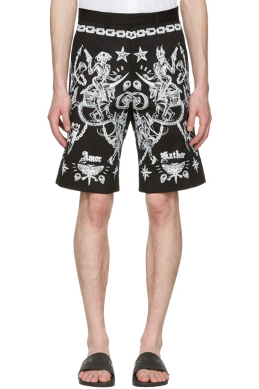 Givenchy - Black Tattoo Print Shorts