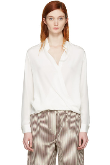 3.1 Phillip Lim - White Silk Wrap Blouse