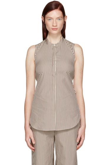 3.1 Phillip Lim - White & Brown Stripe Twist Back Shirt
