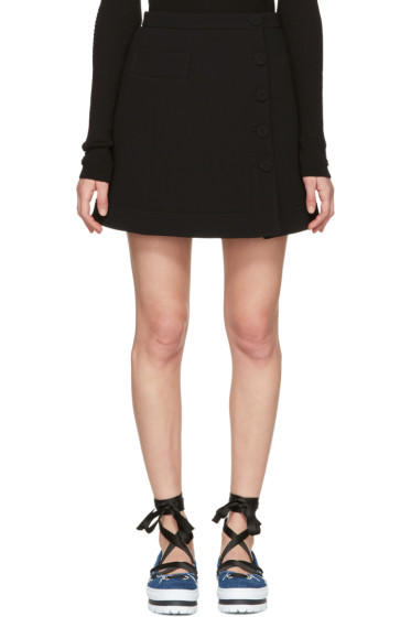 Carven - Black Button Miniskirt