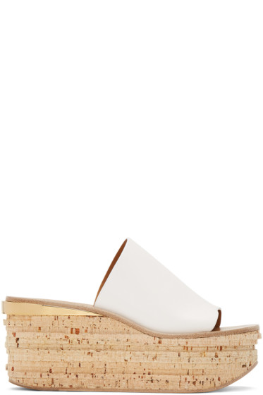 Chloé - White Camille Wedge Mules