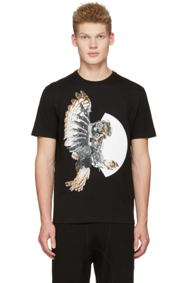 Neil Barrett - Black Mechanical Owl T-Shirt