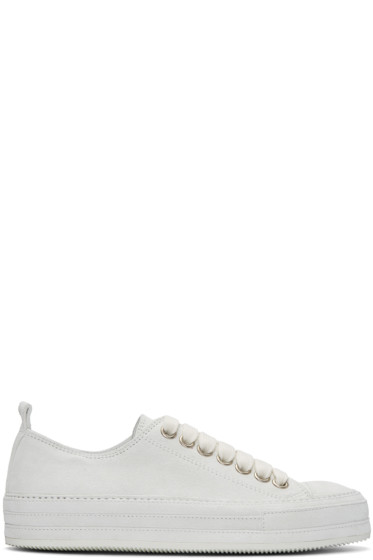 Ann Demeulemeester - White Suede Sneakers