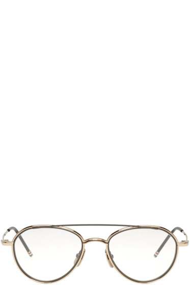 Thom Browne - Gold Aviator Glasses