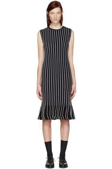 Thom Browne - Navy Striped Pleated Dress