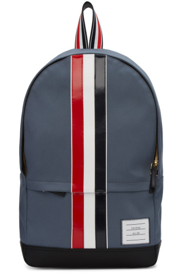 Thom Browne - Grey Canvas Stripe Backpack