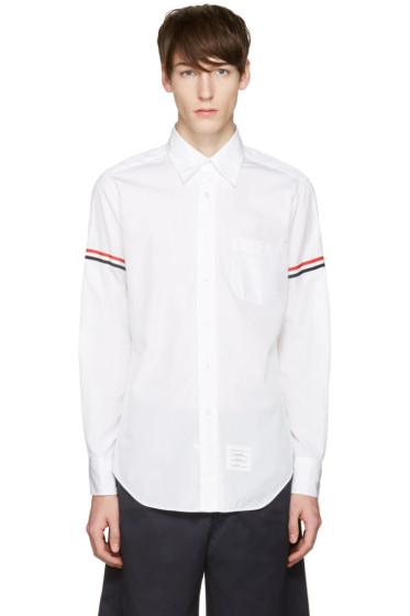 Thom Browne - Off-White Poplin Grosgrain Shirt