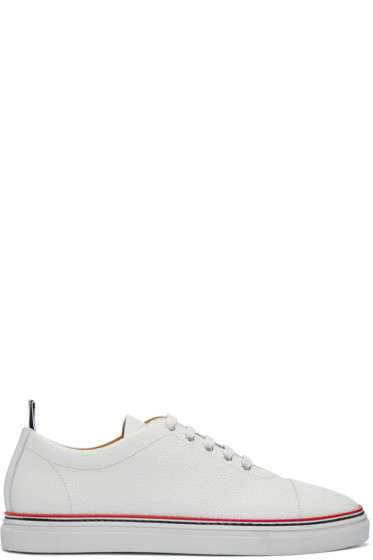 Thom Browne - White Straight Toe Cap Sneakers