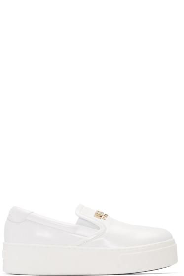 Kenzo - White Faux-Leather Logo Sneakers