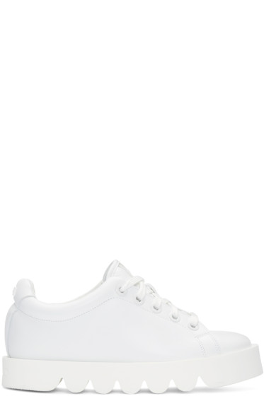 Kenzo - White Leather Low-Top Sneakers