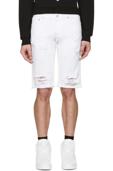 Versus - White Denim Ripped Shorts
