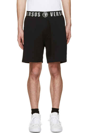 Versus - Black Logo Waistband Shorts