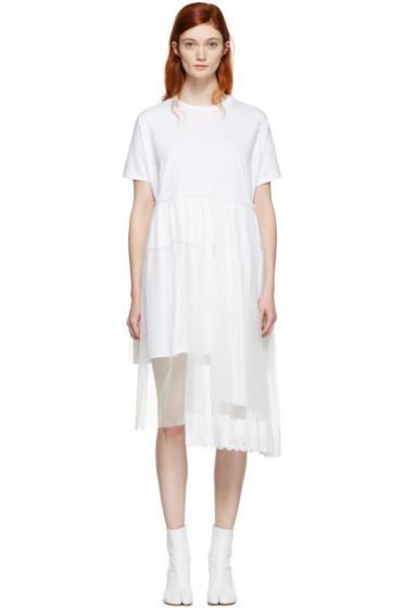 Simone Rocha - White Jersey & Tulle Tiered Dress