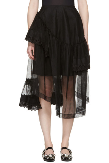 Simone Rocha - Black Tulle & Broderie Anglaise Tiered Skirt