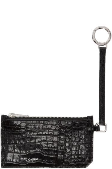 Saint Laurent - Black Croc-Embossed 5-Fragments Keyring Zip Card Holder