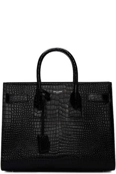 Saint Laurent - Black Croc-Embossed Small Sac de Jour Tote