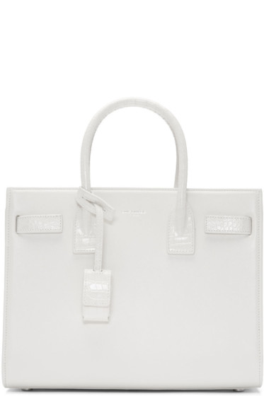 Saint Laurent - White Croc-Embossed Baby Sac De Jour Tote