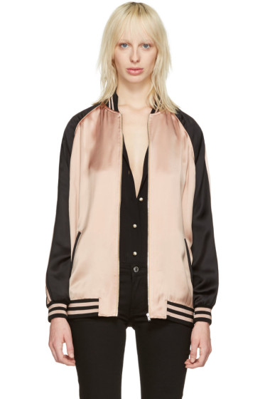 Saint Laurent - Pink Oversized Teddy Bomber Jacket