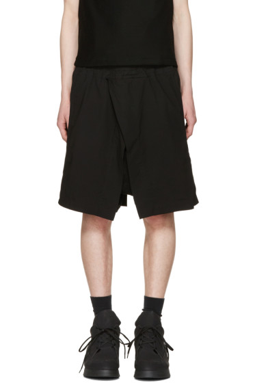 Julius - Black Wrap Layered Shorts