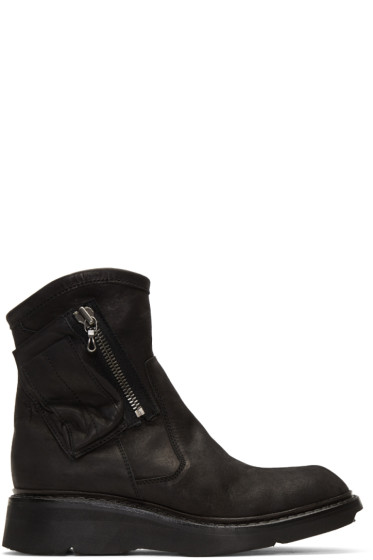 Julius - Black Nubuck Zip Boots