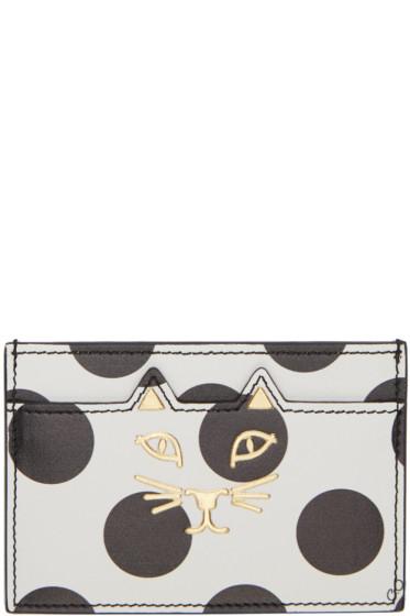 Charlotte Olympia - White Polka Dot Feline Card Holder